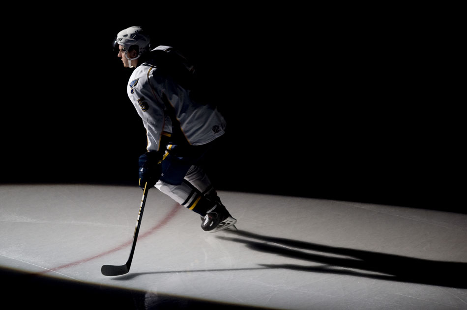 Peoria Rivermen defender Nikita Nikitin skates onto the ice during player introductions before a game against Grand Rapids on Saturday, Dec. 11, 2010, at Carver Arena.