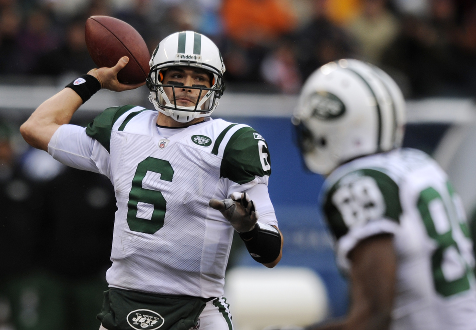 New York Jets quarterback Mark Sanchez (6) looks to pass during a game on Sunday, Dec. 26, 2010, in Chicago. Chicago won 38-34.