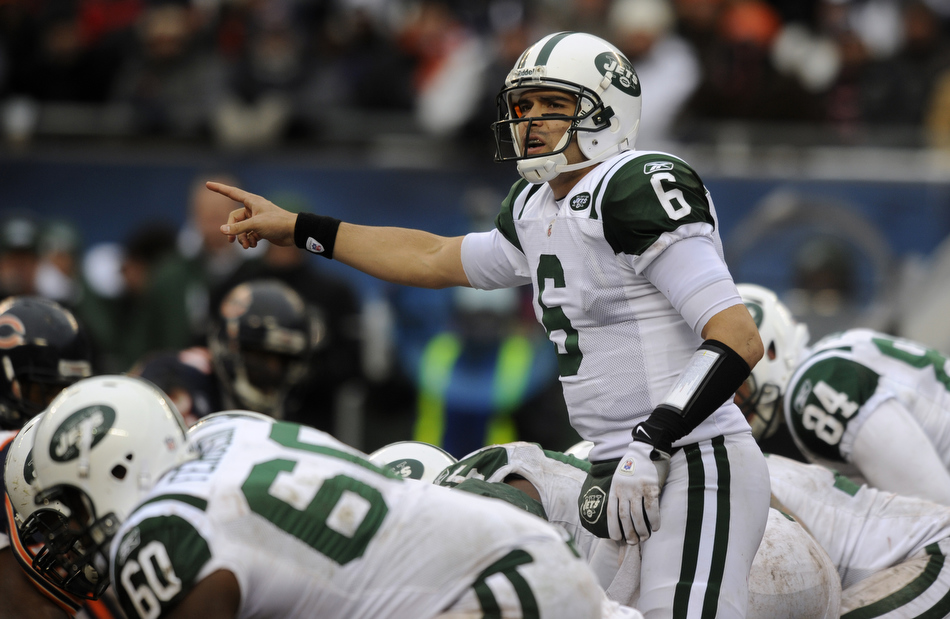 New York Jets quarterback Mark Sanchez (6) directs the offense during a game on Sunday, Dec. 26, 2010, in Chicago. Chicago won 38-34.