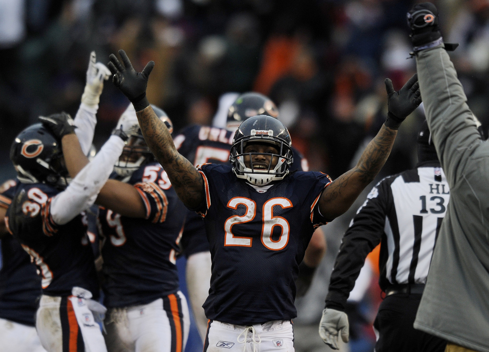Chicago Bears cornerback Tim Jennings (26) celebrates a game-clinching interception late in the second half of a game on Sunday, Dec. 26, 2010, in Chicago. Chicago won 38-34.