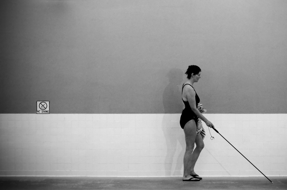 Sharlee Davis makes her way from the pool to the whirlpool after swimming a mile on Saturday, Feb. 27, 2010, at the Monroe County YMCA. Davis swims a mile three or four times a week depending on her schedule.