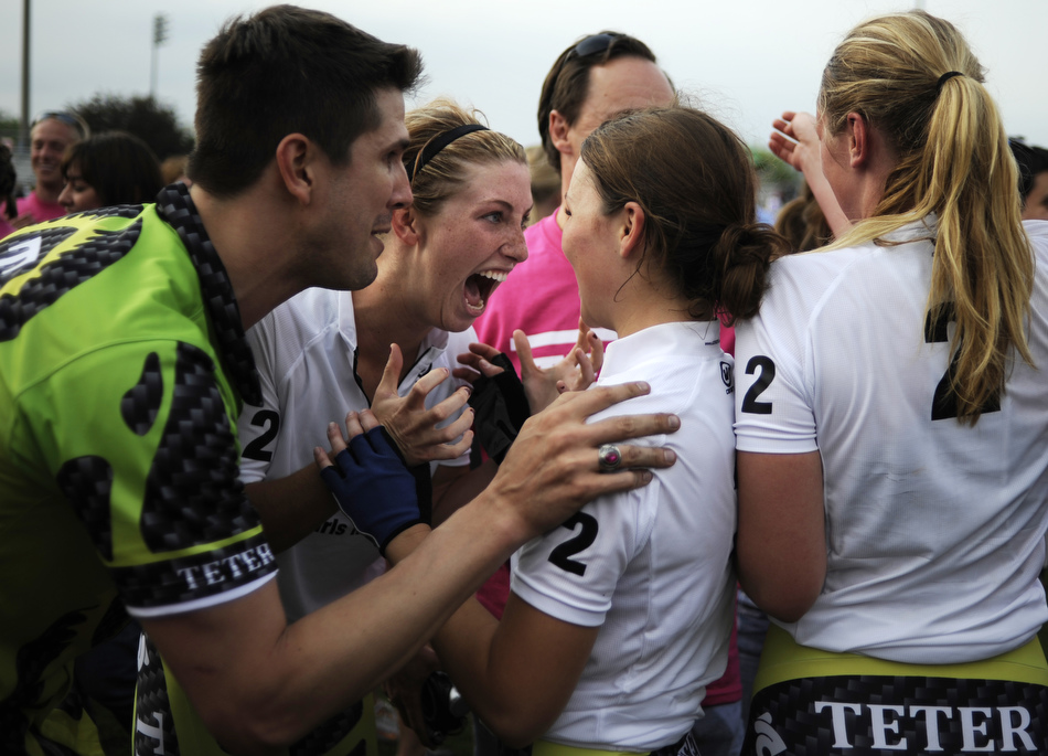 Teter rider Dana Vandergenugten, middle, celebrates with her teammates after winning the Women's Little 500 on Friday, April 23, 2010, at Bill Armstrong Stadium. It was Teter's first win since 2005.