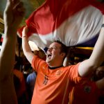 Ryan Colpaart, of Austin, cheers on the Netherlands as he watches the World Cup final from Fado Irish Pub on Sunday, July 11, 2010. Spain defeated the Netherlands 1-0 for its first World Cup title.