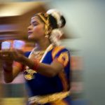 A performer dances to a Bharatanatyam, a traditional and classical Indian dance, during a show on Sunday, Oct. 17, 2010, at the Hindu Temple of Central Illinois. The performer, who is blind, was performing with a troupe from the Shree Ramana Maharishi Academy for the Blind in India.