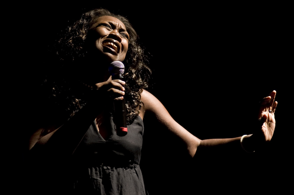 Sophia Jefferson performs a gospel song during the Gospel Jubilee on Sunday, Oct. 17, 2010, at the Riverside Community Church. The program, sponsored by the Peoria Area Community Events, featured local musicians and speakers.