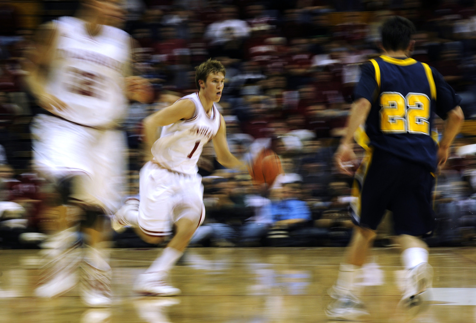 Indiana guard Jordan Hulls takes the ball up the court during a game against Franklin on Wednesday, Nov. 3, 2010, at Assembly Hall in Bloomington, Ind.