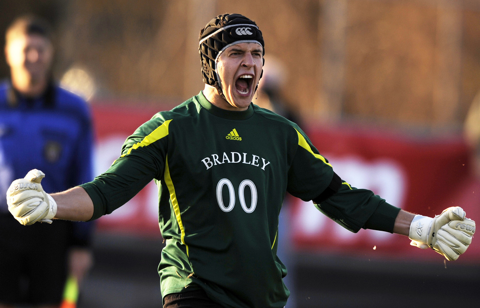 Bradley keeper Brian Billings reacts after making a save during penalty kicks in the Missouri Valley Conference championship game against SIU Edwardsville on Sunday, Nov. 14, 2010, at Shea Stadium. Bradley won 4-3 in penalty kicks after playing two overtime periods.