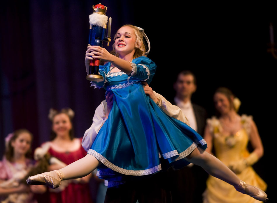Ellen Cook, age 16, plays the role of Clara in the Peoria Ballet's production of the Nutcracker on Sunday, Dec. 12, 2010, at the Civic Center. Cook is a student at Metamora High School.