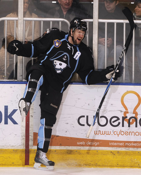 Milwaukee Admirals defender Aaron Johnson reacts after scoring a goal against Peoria during a game on Sunday, Dec. 5, 2010, at Carver Arena. Peoria lost 5-4 in overtime.
