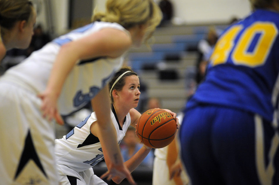 East's Sarah Erickson lines up a free throw during a game against Gering on Thursday, Jan. 13, 2011, at East.
