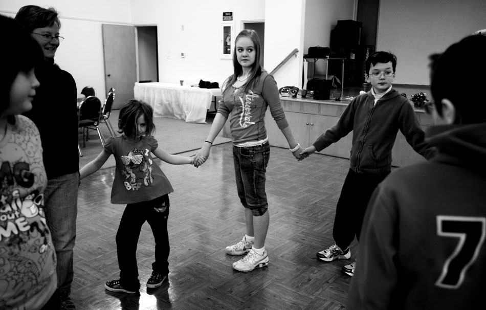 Nathalia Rap, age 16, takes part in a traditional Jewish dance during Hebrew School on Sunday, Feb. 27, 2011, at the Mount Sinai Congregation in Cheyenne.