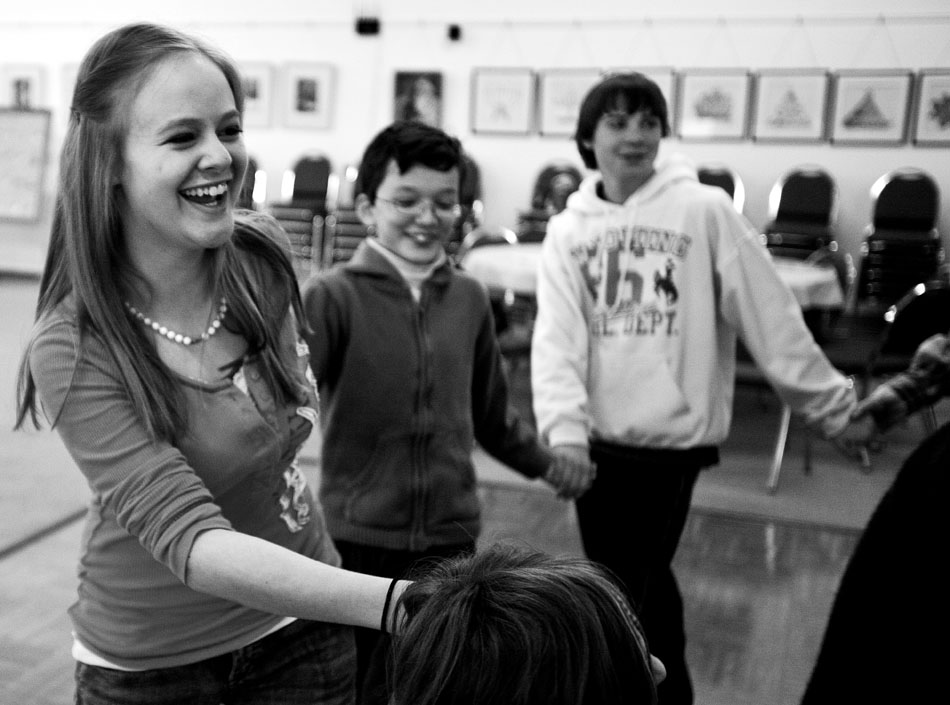 Nathalia Rap, age 16, reacts as she takes part in a traditional Jewish dance during  Hebrew School on Sunday, Feb. 27, 2011, at the Mount Sinai Congregation in Cheyenne.