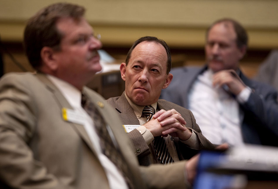Sen. Bill Landen, R-Casper, listens during debate on HB0147 (Excise tax-vendor compensation) on Tuesday, March 1, 2011, at the Wyoming State Capitol in Cheyenne. The bill passed 23-6 after a third reading.