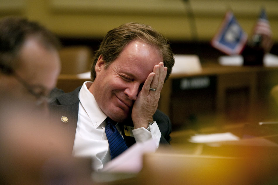 Sen. Ray Peterson, R-Cowley, reacts as he listens to morning proceedings in the senate on Wednesday, March 2, 2011, at the Wyoming State Capitol in Cheyenne.