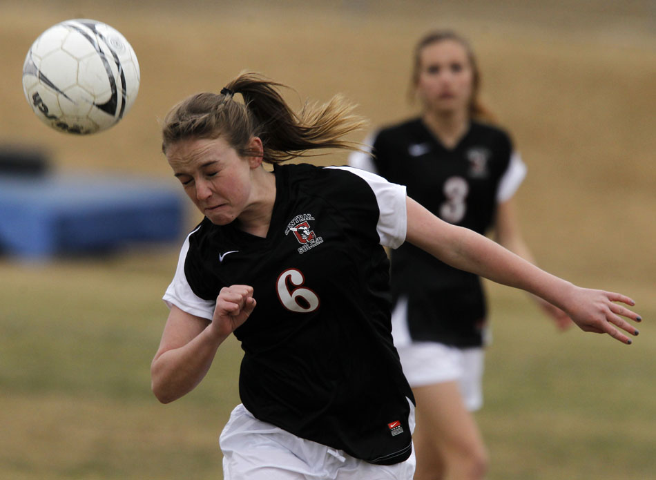 Cheyenne Central's Cori Bagby (6) heads the ball during a high school girl's soccer game on Friday, March 25, 2011, at Cheyenne East High School.