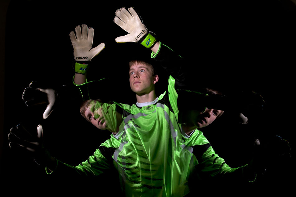 In this single-exposure photo, Cheyenne East keeper Ben Harnish poses for a portrait on Tuesday, April 5, 2011, in Cheyenne. Harnish is the WyoSports Cheyenne prep athlete of the week.