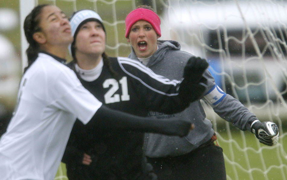 Cheyenne East keeper Shayne Carter yells instructions to her teammates during a girl's state soccer quarterfinal against Natrona County on Thursday, May 19, 2011, in Sheridan, Wyo.