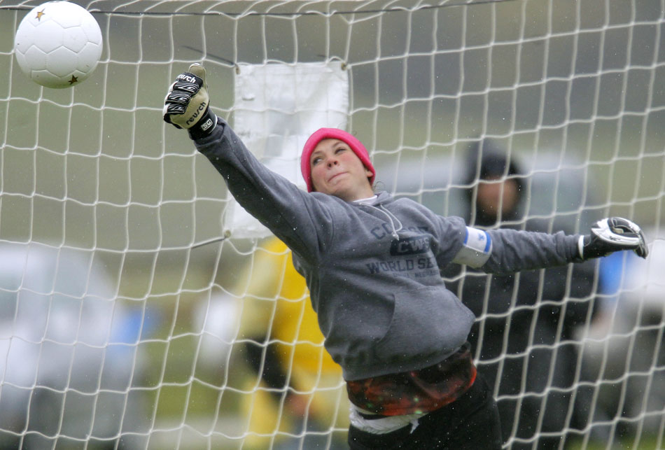 Cheyenne East keeper Shayne Carter makes a save during penalty kick overtime against Natrona County during a girl's state soccer quarterfinal on Thursday, May 19, 2011, in Sheridan, Wyo. East won.