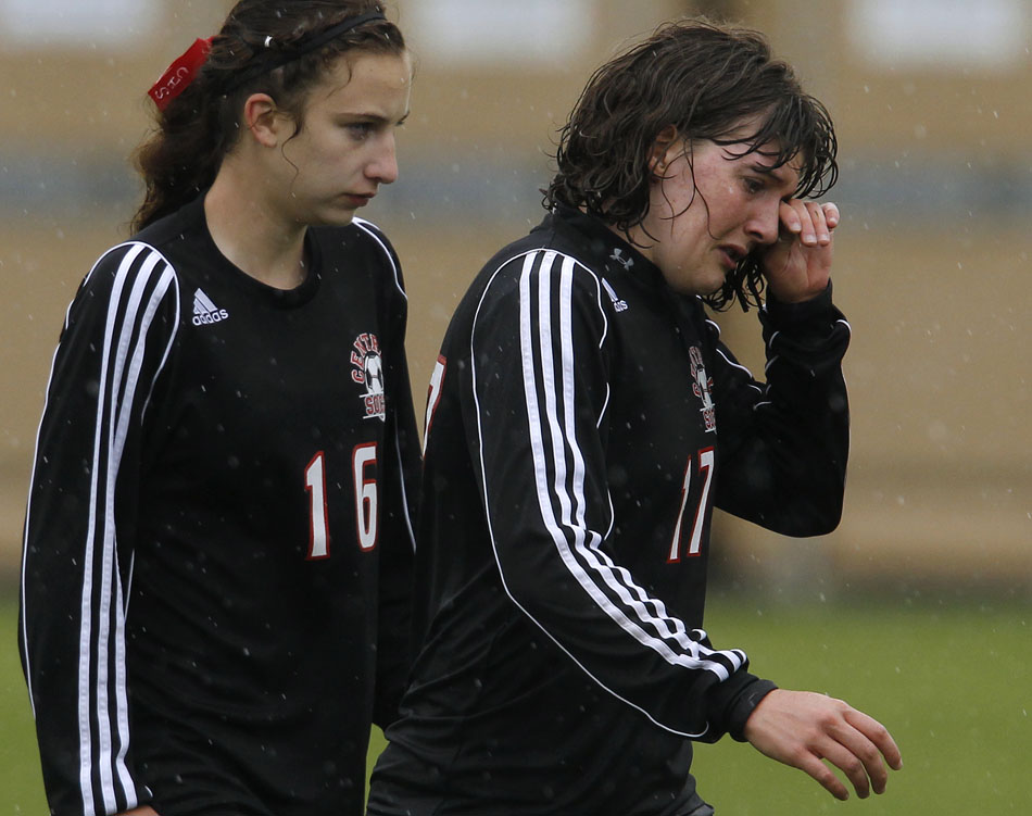 Cheyenne Central's Jennie Barsotti wipes tears out of her eyes after a 4-3 loss to Gillette during a Class 4A girl's state soccer semifinal on Friday, May 20, 2011, in Sheridan, Wyo.