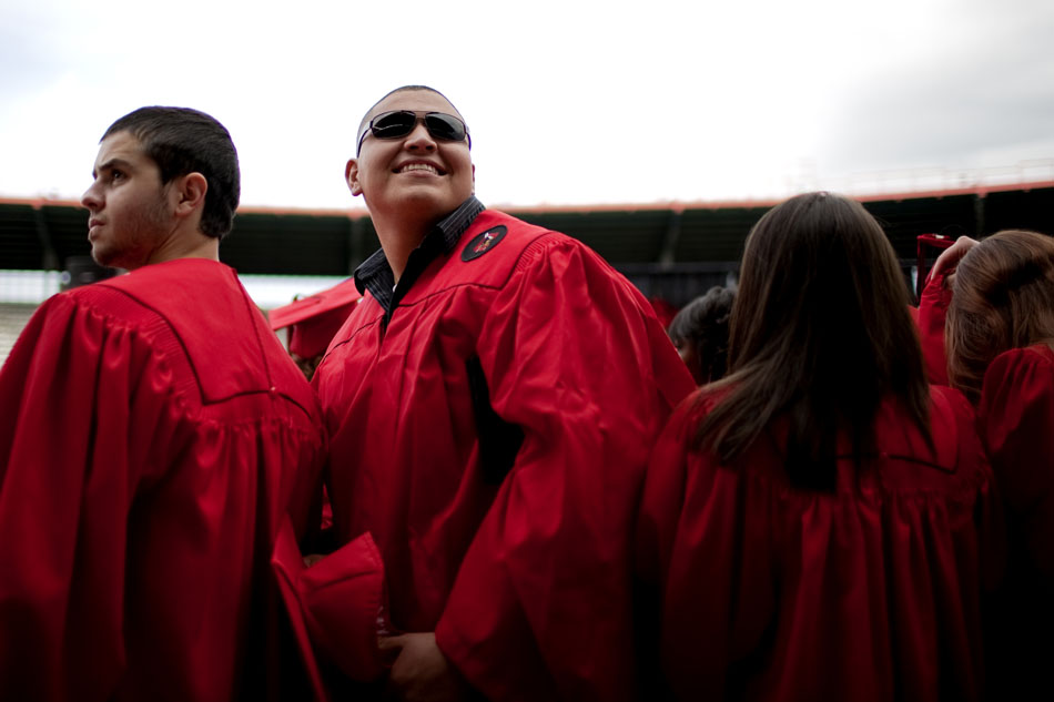 A graduate looks into the stands after the Cheyenne Central High School graduation on Friday, May 27, 2011, at Frontier Park.