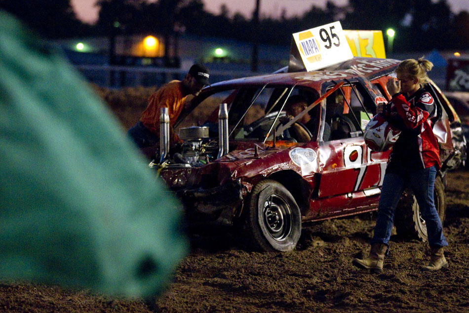 A competitor shows frustration after getting knocked out of the Laramie County Fair's demolition derby on Friday, Aug. 12, 2011, at Frontier Park.