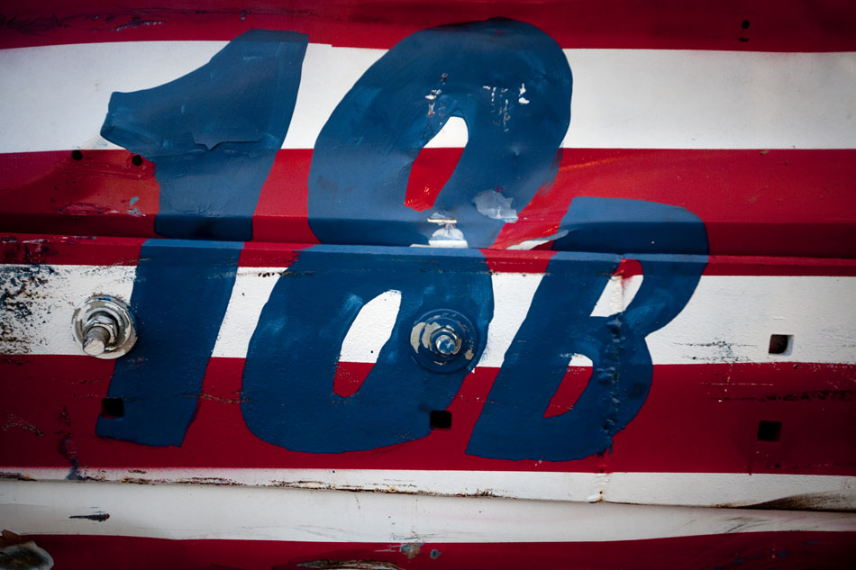 A banged up demolition derby truck displays the number 18B during the Laramie County Fair's demolition derby on Friday, Aug. 12, 2011, at Frontier Park.