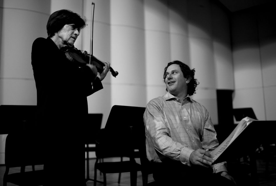 "William Intriligator, music director and conductor of the Cheyenne Symphony Orchestra, talks with violin soloist Miriam Fried, left, as they discuss a piece of the Brahms Violin Concerto before a rehearsal on Thursday, Nov. 3, 2011, at the Cheyenne Civic Center. Fried, who lives in Boston, severed as the soloist for ""A Classic Encounter,"" a concert that included the Brahms Violin Concerto, Mozart's Overture to ""The Marriage of Figaro"" and Sibelius Symphony No. 5."