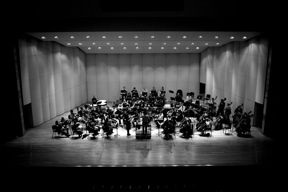 Members of the Cheyenne the Cheyenne Symphony Orchestra, under the direction of William Intriligator, center, rehearse on Thursday, Nov. 3, 2011, at the Cheyenne Civic Center.