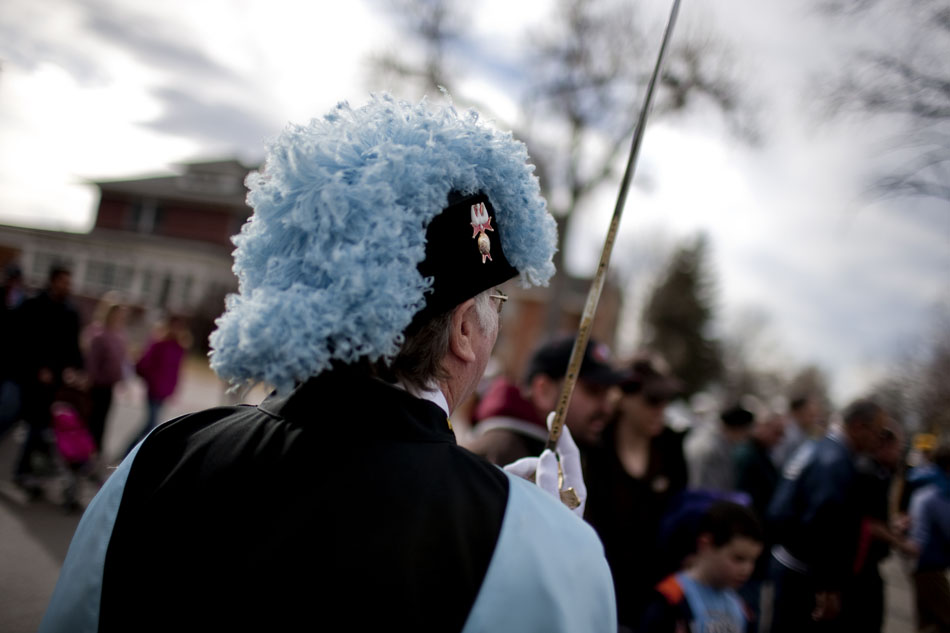 A member of the Knights of Columbus holds his sword skyward as he and other members watch more than 600 people take part in an anti-abortion march on Saturday, Jan. 21, 2012, at the Wyoming State Capitol. (James Brosher/Wyoming Tribune Eagle)