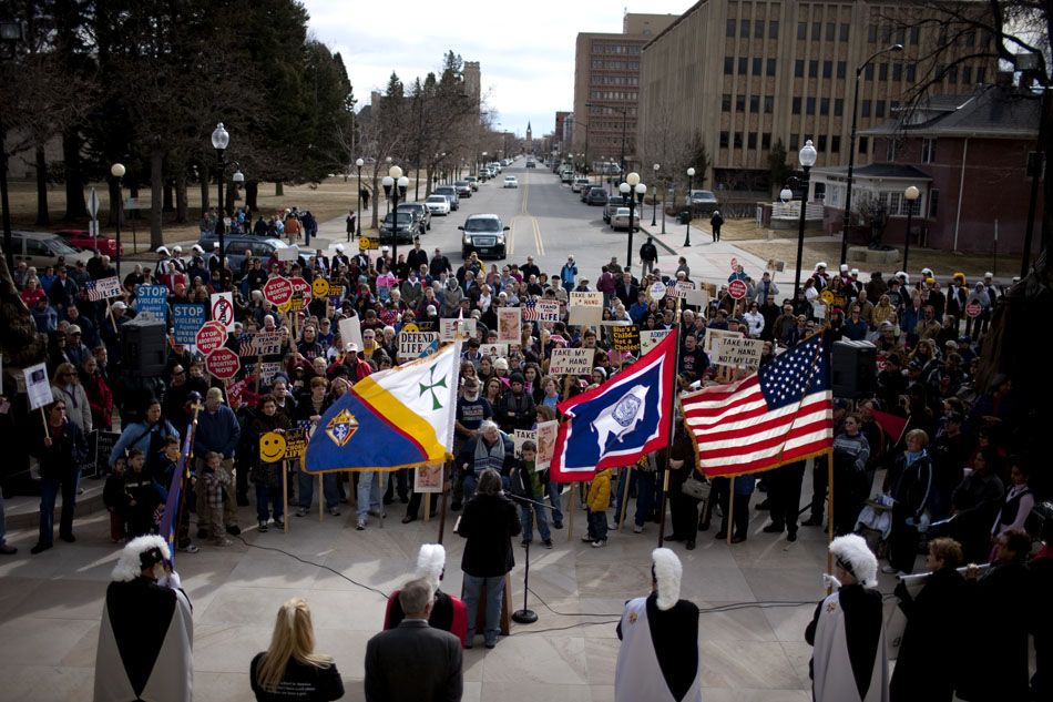 More than 600 people watch the proceedings during an anti-abortion rally on Saturday, Jan. 21, 2012, on the steps of the Wyoming State Capitol in Cheyenne. (James Brosher/Wyoming Tribune Eagle)