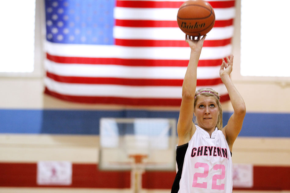 Cheyenne Central's Christie Schiel shoots a free throw during a high school basketball game against Cheyenne East on Saturday, Jan. 21, 2012, at Storey Gym in Cheyenne. (James Brosher/Wyoming Tribune Eagle)