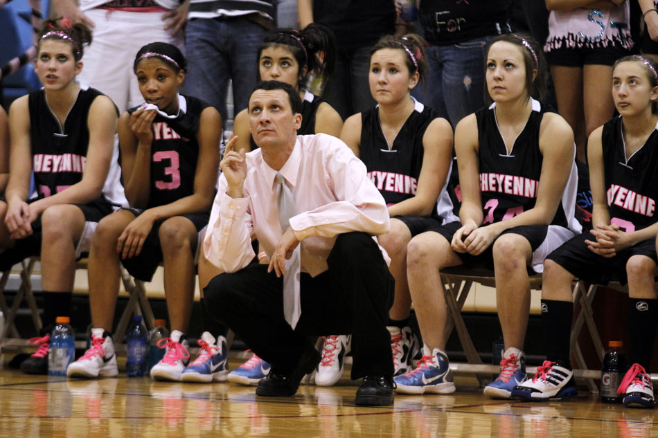 Cheyenne East girl's basketball coach Rusty Horsley watches as a shot goes up during a high school basketball game against Cheyenne Central on Saturday, Jan. 21, 2012, at Storey Gym in Cheyenne. (James Brosher/Wyoming Tribune Eagle)