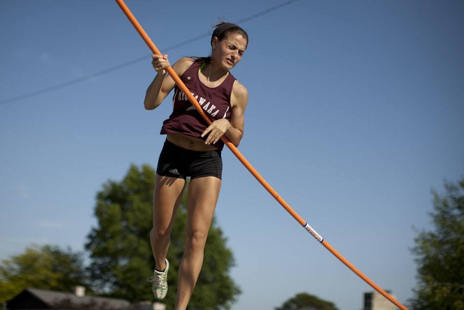 Mishawaka's Francesca Spalding reacts as she takes down the bar in the pole vault during the Bremen girl's track and field sectionals on Tuesday, May 15, 2012, at Bremen High School. (James Brosher/South Bend Tribune)