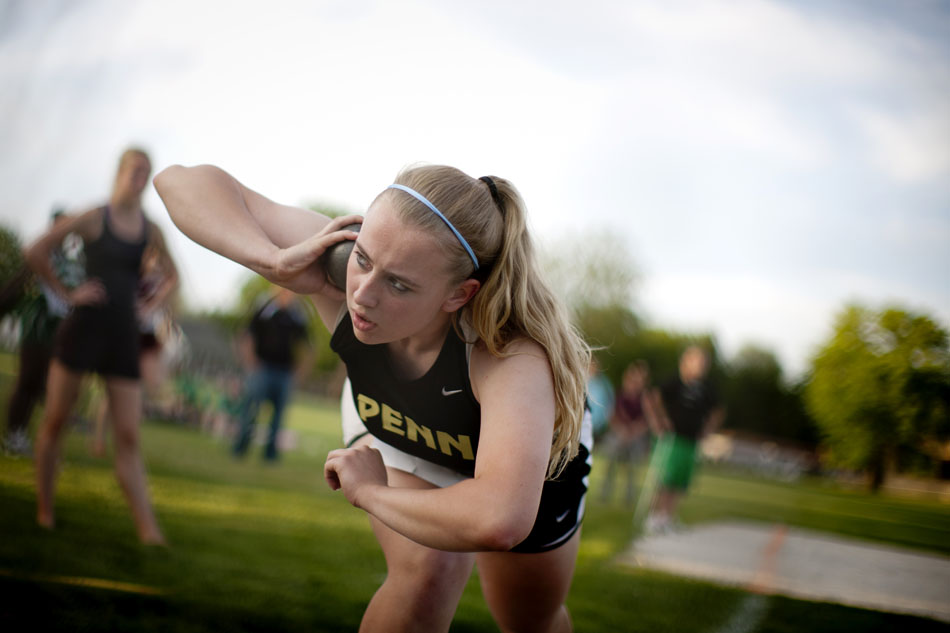 Penn's Melanie Nellis winds up for the shot put during the Bremen girl's track and field sectionals on Tuesday, May 15, 2012, at Bremen High School. (James Brosher/South Bend Tribune)