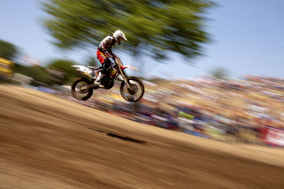 Justin Barcia sticks a landing during the 250 motocross at the Red Bull Redbud National on Saturday, July 7, 2012, in Buchanan, Mich. (James Brosher/South Bend Tribune)