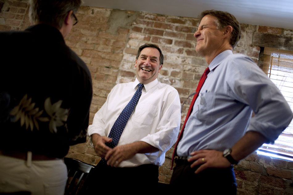 U.S. Rep. Joe Donnelly, D-Granger, shares a laugh with former U.S. Sen. Evan Bayh, right, on Thursday, Aug. 23, 2012, at Opie's Deli in Plymouth, Ind. Bayh, a former governor and U.S. Senator from Indiana, endorses Donnelly in his race against Republican nominee Richard Mourdock for U.S. Senate. (James Brosher/South Bend Tribune)
