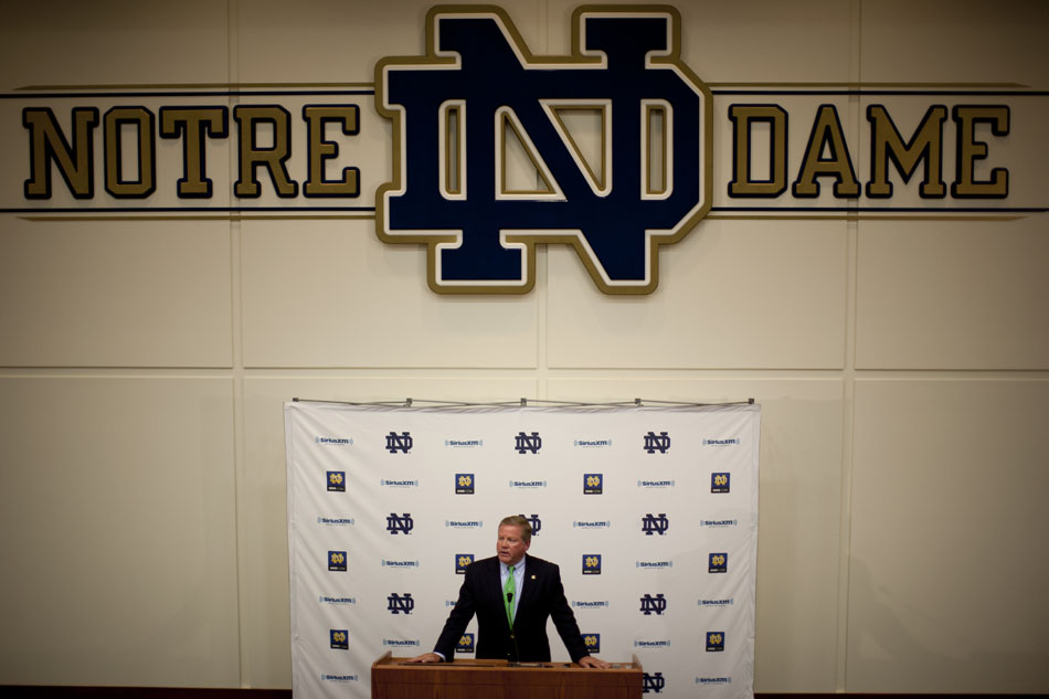 Notre Dame football coach Brian Kelly speaks during a season-opening news conference on Friday, Aug. 3, 2012, at Notre Dame. The Irish kick off the season with a Sept. 1 game against Navy in Dublin, Ireland. (James Brosher/South Bend Tribune)