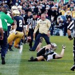 Notre Dame head coach Brian Kelly yells at cornerback Bennett Jackson (2) after he caught and returned a hail mary pass at the end of the game to seal a win for the Irish during a NCAA college football game on Saturday, Sept. 8, 2012, at Notre Dame. (James Brosher/South Bend Tribune)