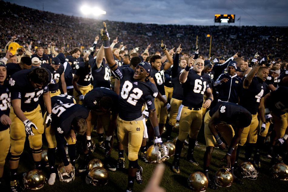 Notre Dame players celebrate after a 17-14 win against BYU on Saturday, Oct. 20, 2012, at Notre Dame. (James Brosher/South Bend Tribune)