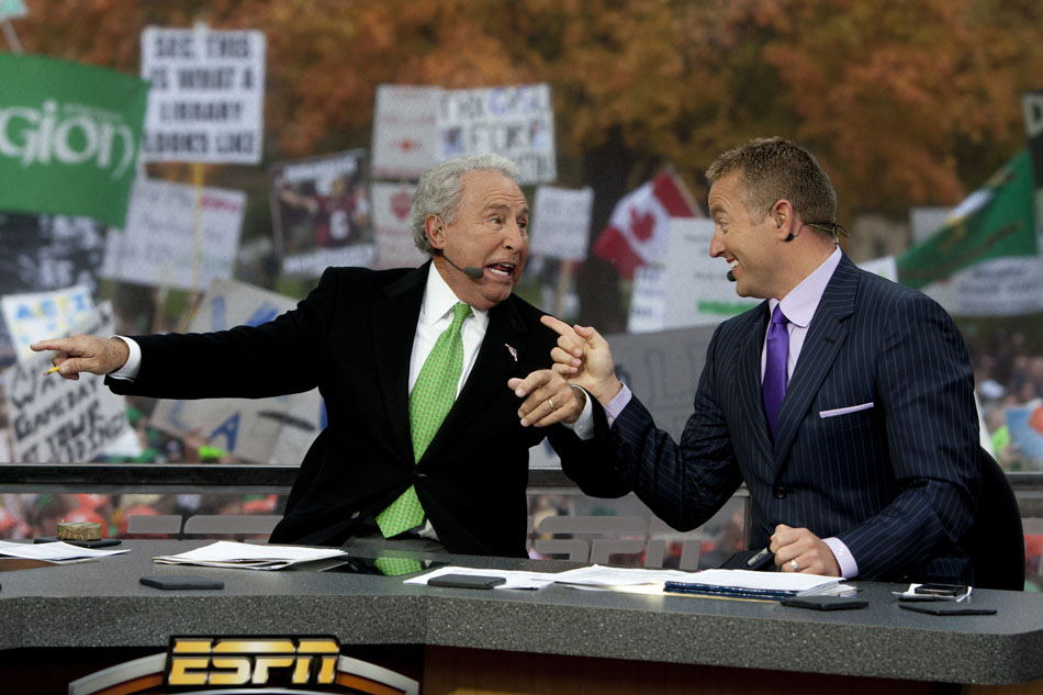 "Kirk Herbstreit, right, and Lee Corso share a laugh during a broadcast of ESPN's ""College GameDay"" on Saturday, Oct. 13, 2012, at Notre Dame. (James Brosher/South Bend Tribune)"