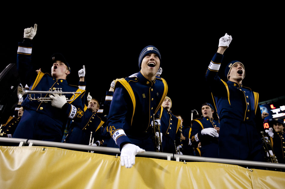 Members of the Notre Dame band celebrate following a 41-3 win against Miami on Saturday, Oct. 6, 2012, at Soldier Field in Chicago. (James Brosher/South Bend Tribune)