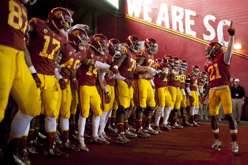 USC cornerback Nickell Robey (21) gets his team pumped up in the tunnel before they take the field for an NCAA college football game on Saturday, Nov. 24, 2012, at the Los Angeles Memorial Coliseum. (James Brosher/South Bend Tribune)