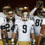 Notre Dame players wait to take the field before an NCAA college football game on Saturday, Nov. 24, 2012, at the Los Angeles Memorial Coliseum. (James Brosher/South Bend Tribune)