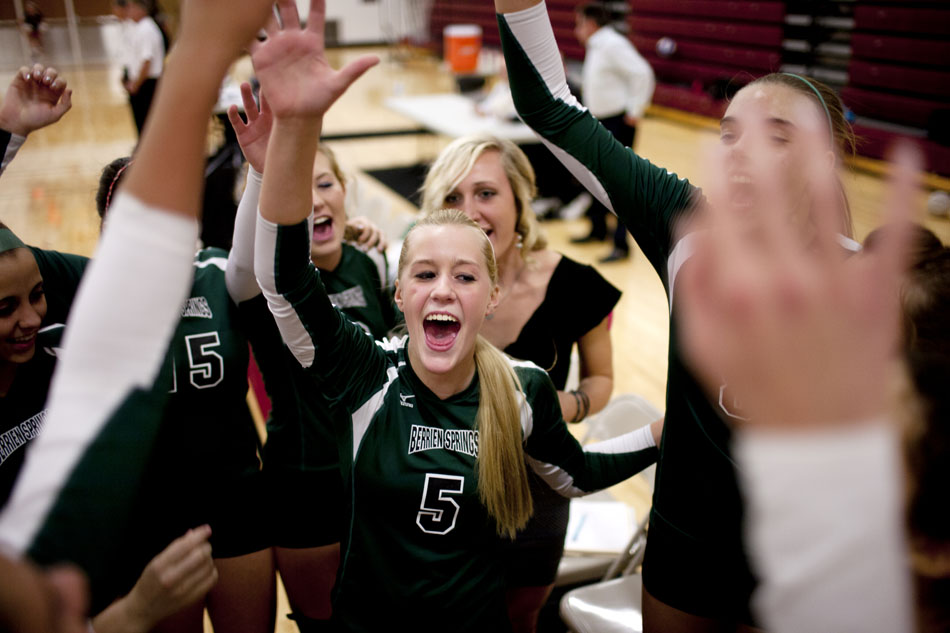 Berrien Springs senior Courtney Knuth (5) huddles up her teammates before a district semi-final on Wednesday, Oct. 31, 2012, in Buchanan, Mich. (James Brosher/South Bend Tribune)