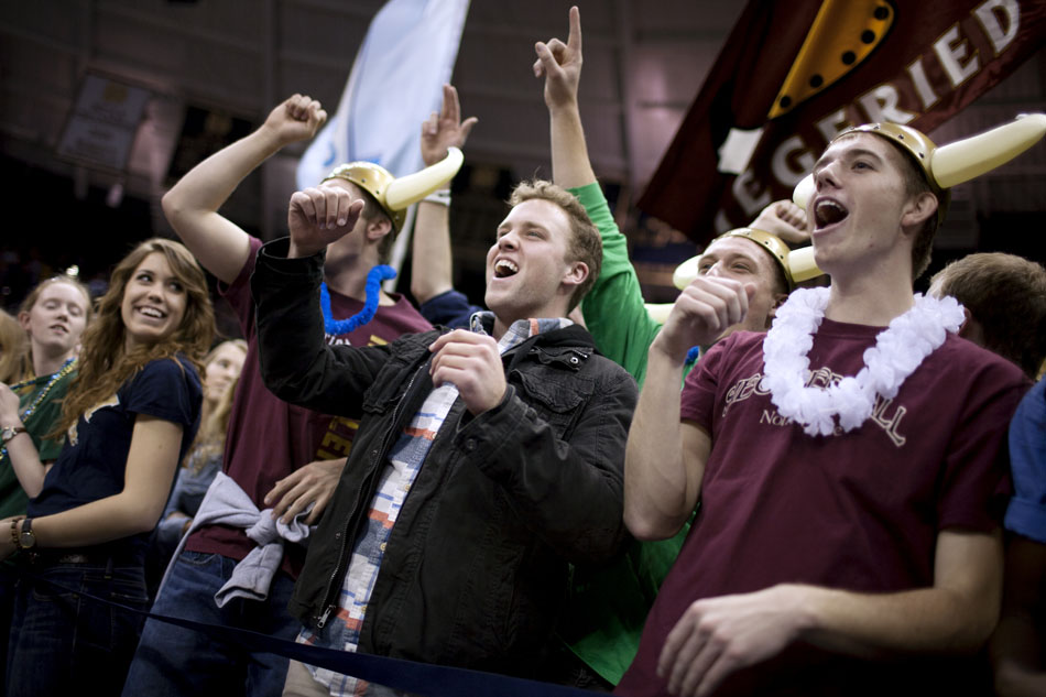 Students from Notre Dame's Siegfried Hall cheer during the pep rally on Friday, Nov. 16, 2012, at the Purcell Pavilion at Notre Dame. Notre Dame looks to stay undefeated at home for the first time since 1998 on Saturday when they face off against Wake Forest. (James Brosher/South Bend Tribune)