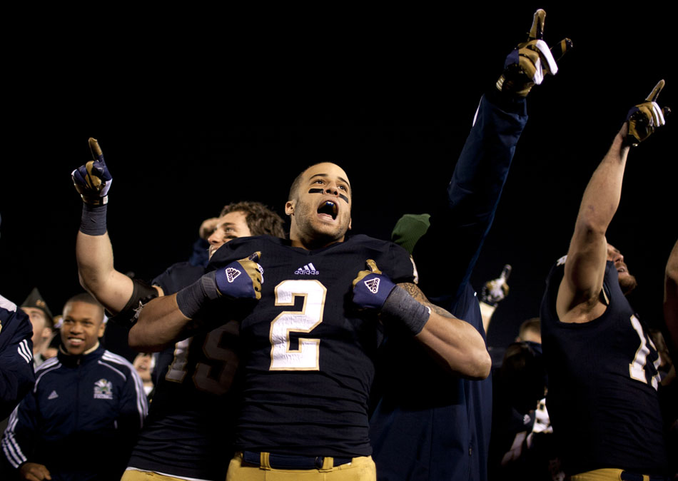 Notre Dame cornerback Bennett Jackson (2) celebrates a 38-0 win against Wake Forest on Saturday, Nov. 17, 2012, at Notre Dame. (James Brosher/South Bend Tribune)