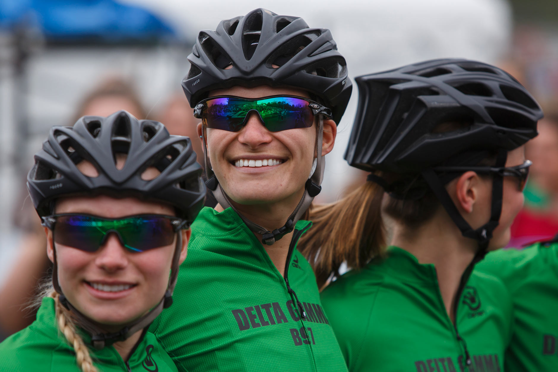 Delta Gamma's Kristen Bignal, center, smiles as she looks to the crowd during team introductions before the Women's Little 500 at Bill Armstrong Stadium on Friday, April 21, 2017. (James Brosher/IU Communications)