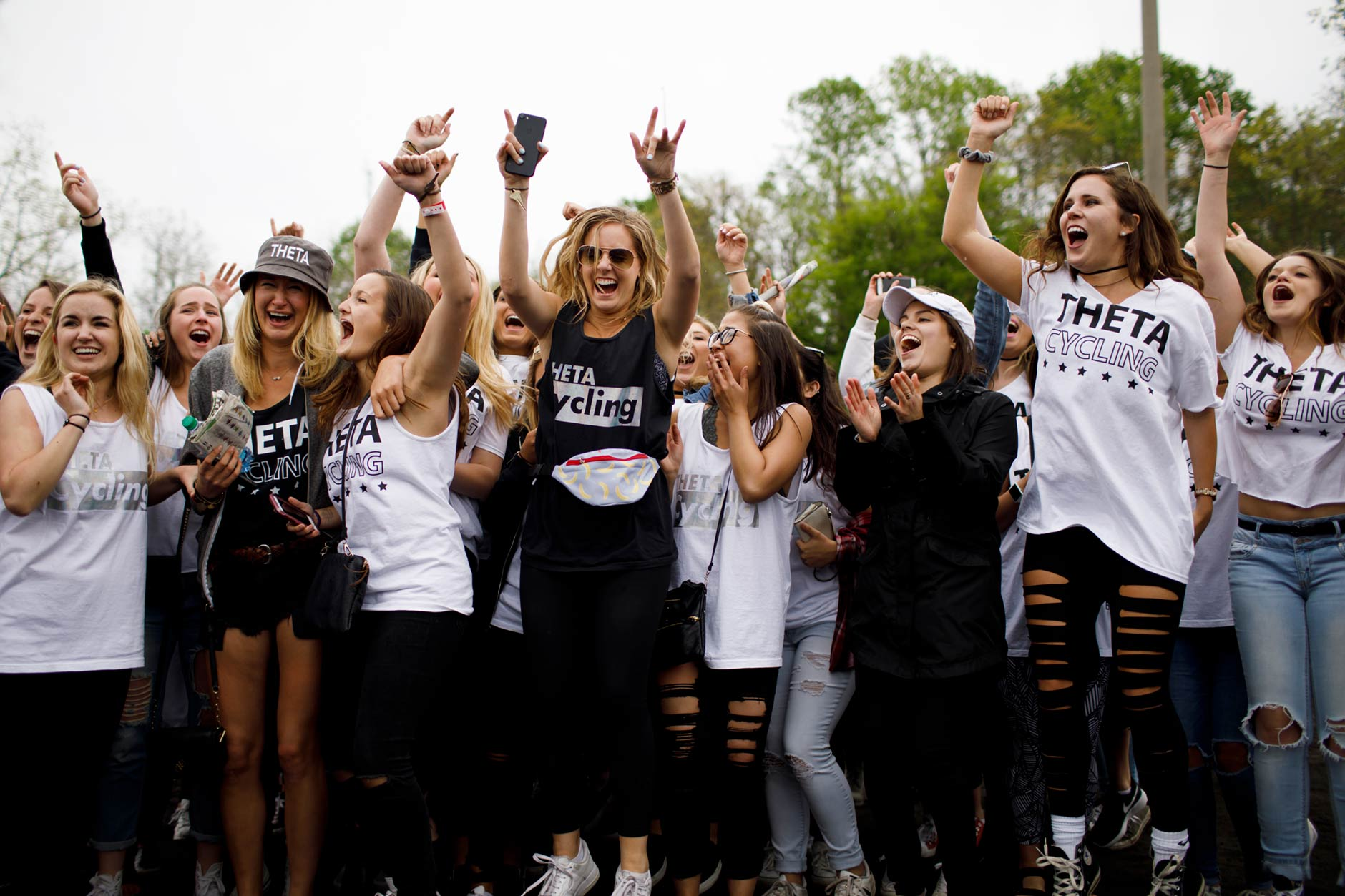 Kappa Alpha Theta sisters storm the track to celebrate after their sorority won the Women's Little 500 at Bill Armstrong Stadium on Friday, April 21, 2017. (James Brosher/IU Communications)