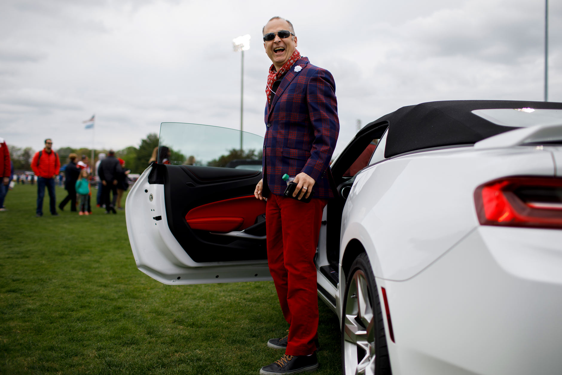 Indiana University Alumni Association Executive Director JT Forbes prepares to drive the Indy 500 Pace Car during the Men's Little 500 at Bill Armstrong Stadium on Saturday, April 22, 2017. (James Brosher/IU Communications)