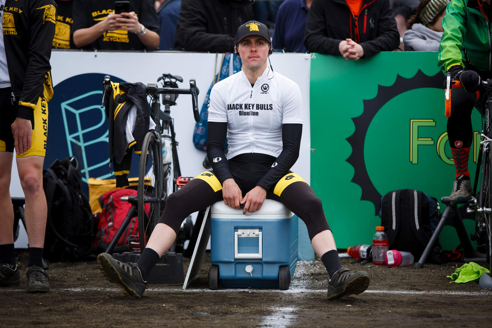 Black Key Bulls rider Charlie Hammon sits in the pits before the Men's Little 500 at Bill Armstrong Stadium on Saturday, April 22, 2017. (James Brosher/IU Communications)